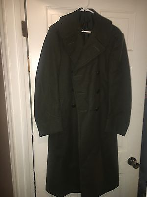 WW2 US Army Men's Wool Long Trench Coat Olive Green 34R