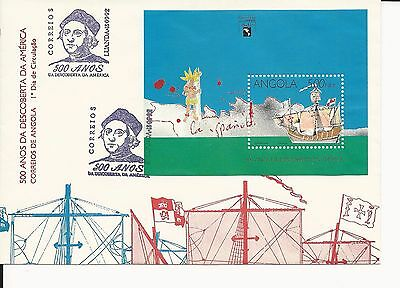 Angola 1992 Sc#850 Discovery of America First Day Cover. Sheet Cat $5.50
