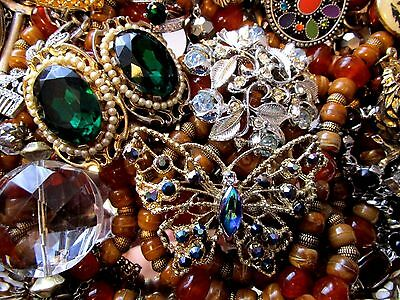 Huge Vintage Rhinestone Jewelry Lot Estate Find Junk Drawer Unsearched Untested
