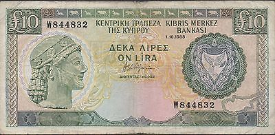 Cyprus  10  Pounds  1.10.1988   P 51  Prefix W Circulated Banknote