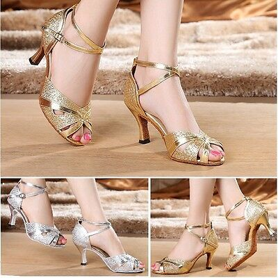 Silver Female Adult Latin Dance Shoes Square Soft Outsole ballroom Dancing Shoes