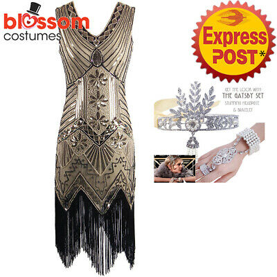 K225A Brown Ladies 1920s Roaring 20s Flapper Costume Sequins Outfit Fancy Dress