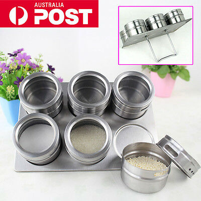 Stainless Steel Magnetic Spice Rack Herb Pot Jar Kitchen Storage Holder Stand AU