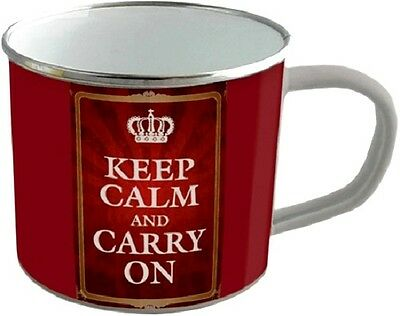 Keep calm and carry on Blechtasse Emaille Becher Tasse 8 x 8 cm
