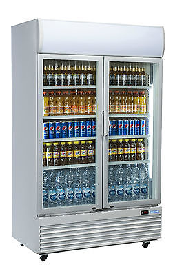 2 Door Dc1000H Commercial Upright Glass Display Fridge New Drinks Storage Cold