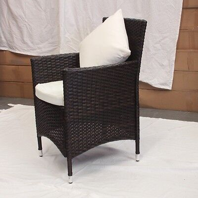 2 x Brown rattan Chairs  With Cushions Aluminum Frame RT102