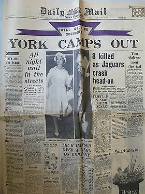 Vintage original Daily Mail pages June 8 & 9 1961 Duke of York Marriage