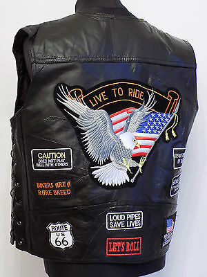 Men's XXL Leather Motorcycle Vest Waistcoat w Patches Biker Rider Chopper Eagle