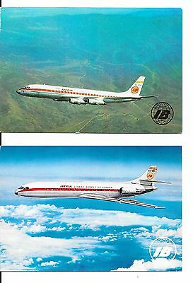 Airline issue postcard-Iberia Spain SE210 & DC8 aircraft x 2 postcards