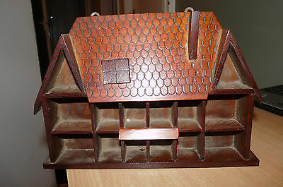 """Vintage Wall Hanging Thimble Display Rack In Shape Of Cottage With """"tiled"""" Roof"""
