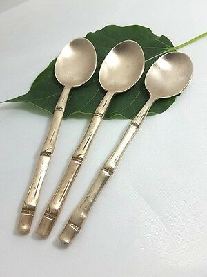 3 Vintage Thai Style Bamboo Brass Coffee Tea Dessert  Spoons Cute Collectible
