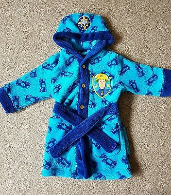Boys toddler 12-18 months fireman sam dressing gown - blue - great condition