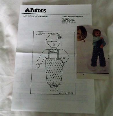 PATONS KNITTING PATTERN No. E.D. 7942 photocopy from  magazine 60's/70's BABY