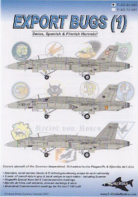 Export Bugs 1 Hornets Swiss,finnish And Spain Af F-4Dable Decals 48001 1/48