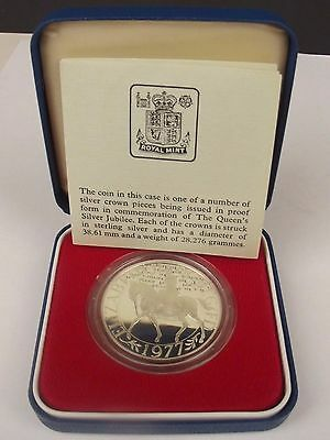 1977 -- Solid Silver Crown Coin Queen's Silver Jubilee Boxed With Certificate