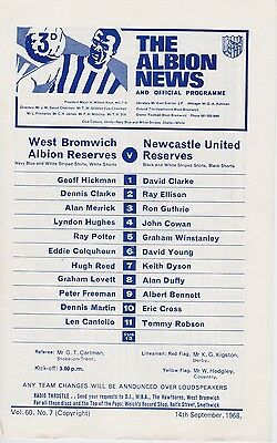 WEST BROMWICH ALBION v NEWCASTLE UNITED RESERVES ~ 14 SEPTEMBER 1968