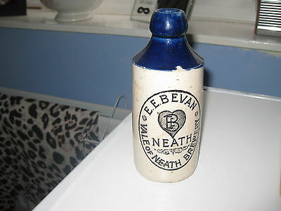 Rare Blue Top Stoneware Ginger Beer Bottle.  E.E.Bevan Vale of Neath Brewery