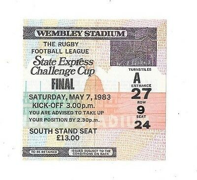 1983 - Featherstone Rovers v Hull, Challenge Cup Final Match Ticket.