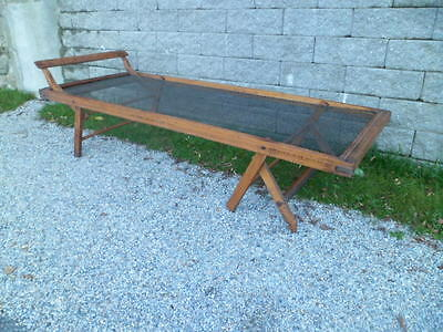 No Shipping !! Rare Antique Wood  Military Cot Daybed The Electric Spring Metal