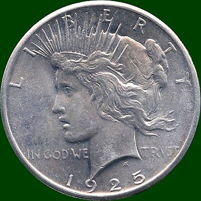 """1925 United States """"Peace"""" Silver Dollar Coin (26.73 Grams .900 Silver)"""