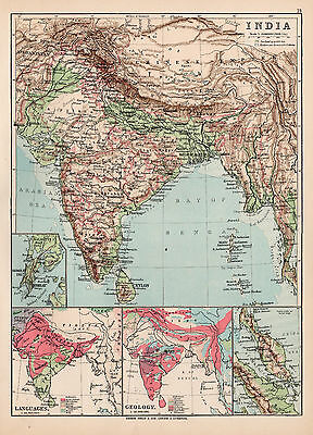 Map Of India 1894 Original Large Antique