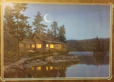 CRESCENT MOON BAY Darrell Bush 14x20 LITHO FRAMED LAKE CABIN PRINT LITHOGRAPH
