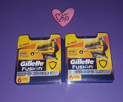 Gillette Fusion Pro Shield Blades Lot Of 6X2 (12) Genuine Uk Stock Rrp £42!!