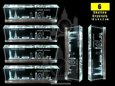 LONDON 3D SKYLINE CRYSTALS - TOP GLASS CUT BRITISH SOUVENIRS x 6
