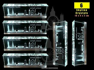 6 London 3D Skyline Crystal Cut Glass British Souvenir In Gift Box Big Ben Top 1