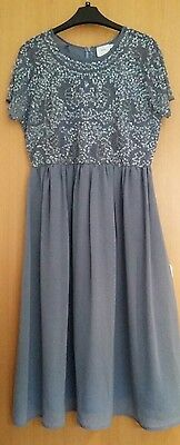 ASOS maternity dress 12 sequined party wedding guest pale blue