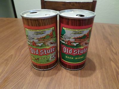 Vintage 2 Different Old Style Slow Brewed Molson Canada Push Top Steel Beer Can