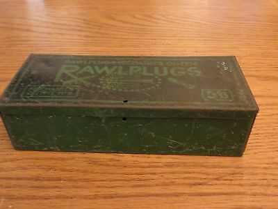 Antique Metal Tin Box Mechanics Outfit Rawlplugs No 8 Vintage Rare Collectable