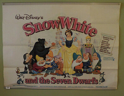Snow White and the Seven Dwarfs, Original UK Cinema Quad Poster, Walt Disney