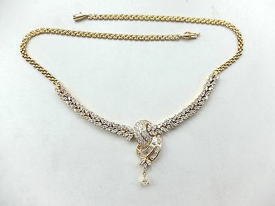 Collier mit Brillanten + Diamantbaguetten + Diamanttropfen ca. 3,95 ct 750 Gold
