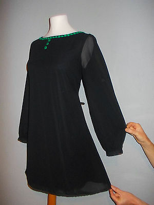 Vintage 1960's Style Size 12 MOD Psych SCOOTER Green FLOWER Braid Dress 12