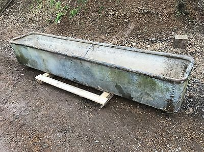 2.5m Old Vintage Antique Galvanised Riveted Trough Architectural Industrial