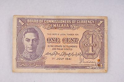 MALAYA 1941 BANKNOTE. ONE CENT. KING GEORGE VI. Very Rare. VF