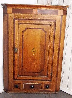 An Antique 19th Century Victorian Golden Oak Corner Cupboard ~Can Deliver~