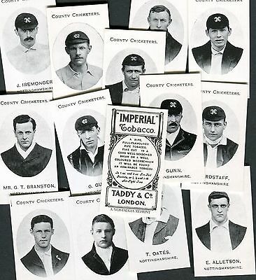 Nostalgia 1997 Set Of 14 Taddy County Cricketers Nottinghamshire Cigarette Cards