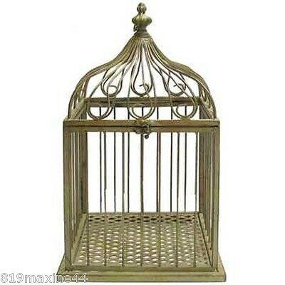 """Large 20"""" Antique Style Green Metal Bird Cage , Rustic Decor"""