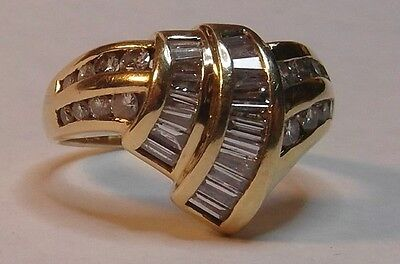 14ct Gold Baguette & Round 0.80ct Diamond Ring Size N 1/2