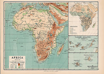 Map Of Africa physical 1894 Original Large Antique