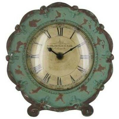 Antique Style Blue Round Metal Table Clock with Stand, Shabby Chic!