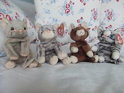 4 Cat Beanie Baby's, Scat, Pounce, Silver & Prance. ?retired