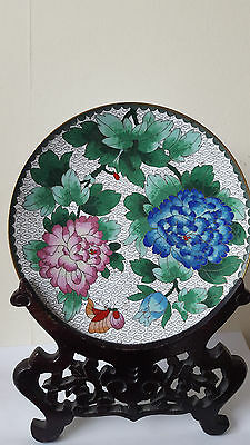 Old Chinese Flowers Painted Cloisonne Bronze Plate with Wooden Stand