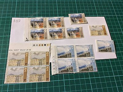GB 1971 Ulster Paintings Stamp Blocks Unfolded Mint MNH (102)