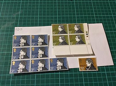 Great Britain-Literature Mint Stamp Blocks 1971-Authors-Writers-Poetry (100)