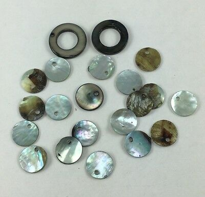 21 pieces mix grey dyed & black-lip Mother of Pearl top-drilled beads