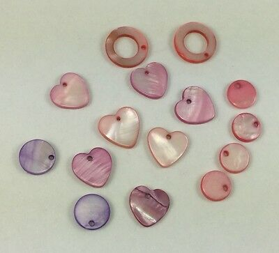 14 pieces assorted shape mix pink/purple-dyed Mother of Pearl top-drilled beads