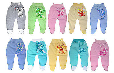 Baby Boys and Girls Trousers Leggings with Feet, 100% Cotton, age: NB to 18 mths